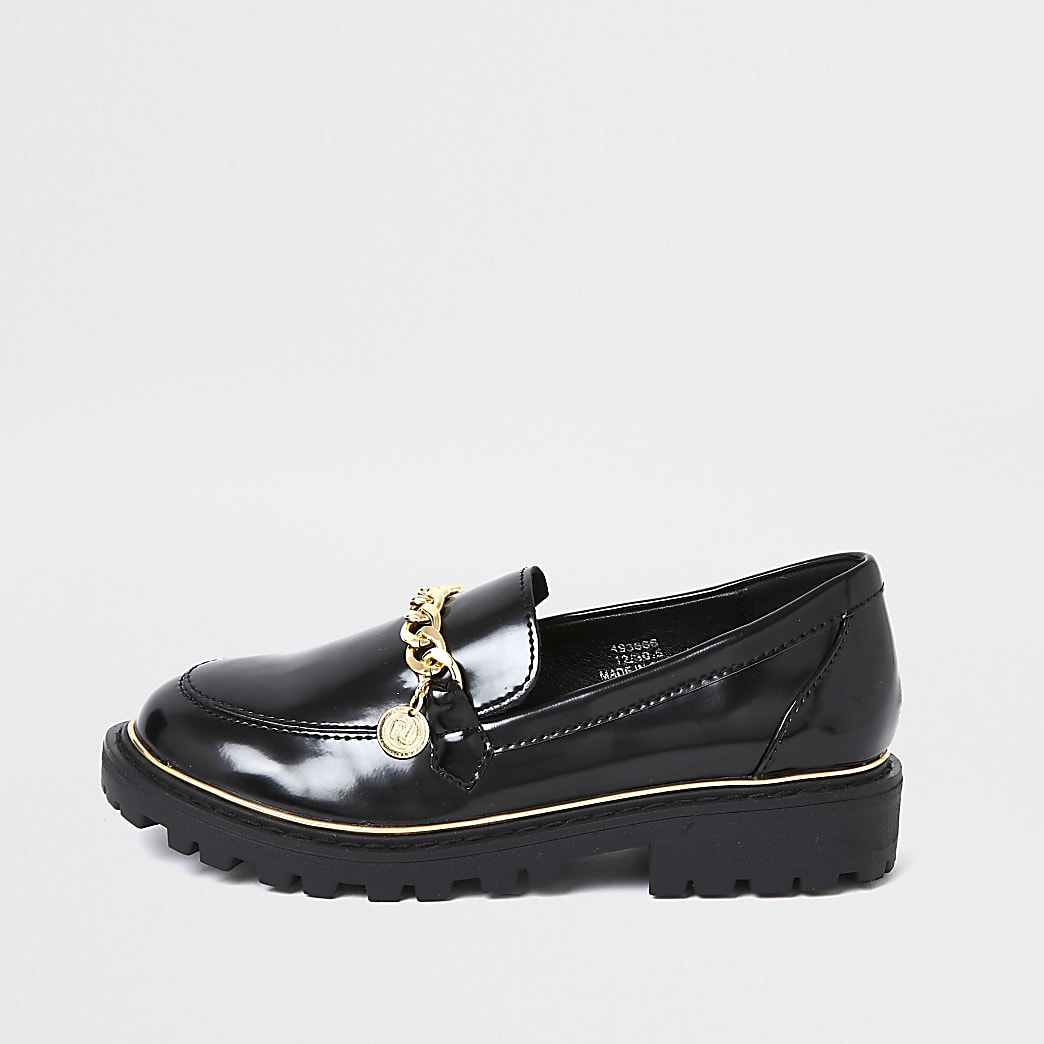 Girls black chunky chain loafer | River Island