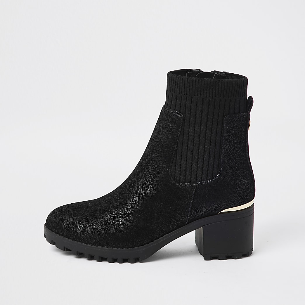 Girls black chunky heeled ankle boots
