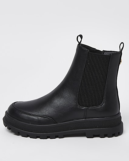 Girls black cleated ankle boots