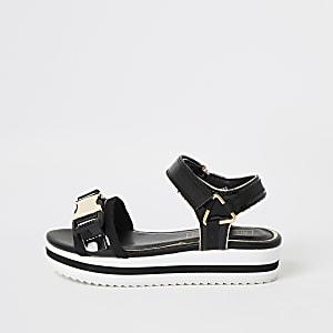 Zwarte sandalen met profielzool en clipsluiting voor meisjes