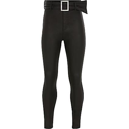 Girls black coated high rise skinny jean
