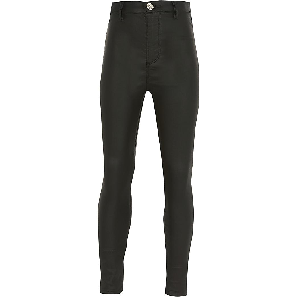 Girls black coated high rise skinny jeans
