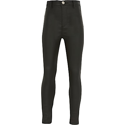 Girls black coated Kaia high rise jeggings