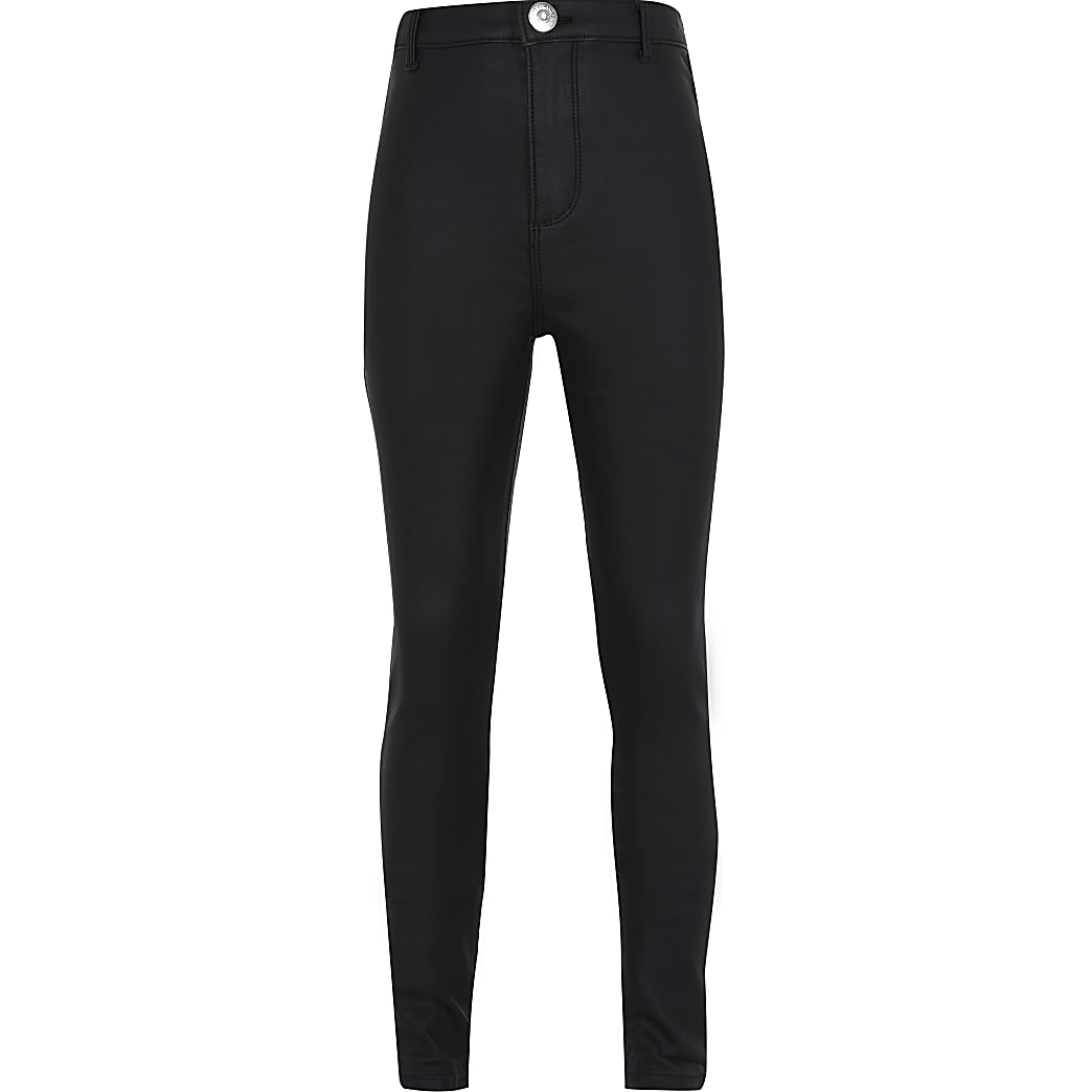 Girls black coated kaia jeans
