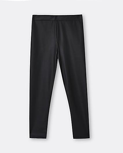 Girls black coated matte leggings
