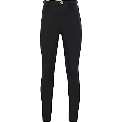 Girls black coated Molly mid rise jeggings