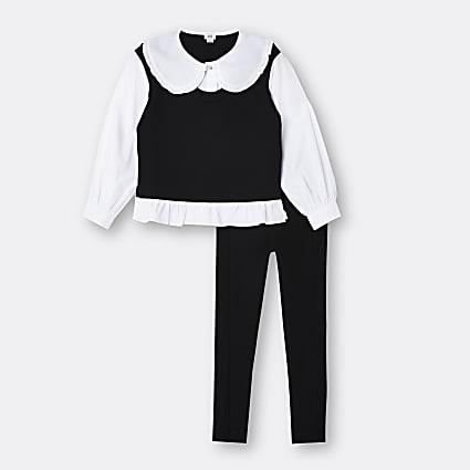 Girls black collar frill top and leggings set