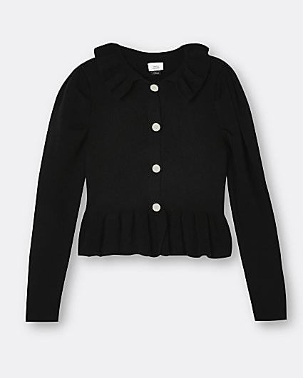 Girls black collar peplum cardigan