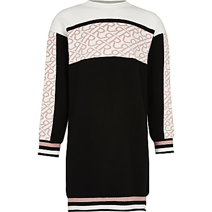 Girls black colour block jumper dress