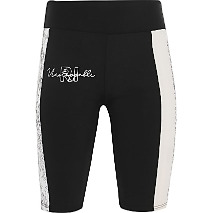 Girls black colour block RI Active shorts