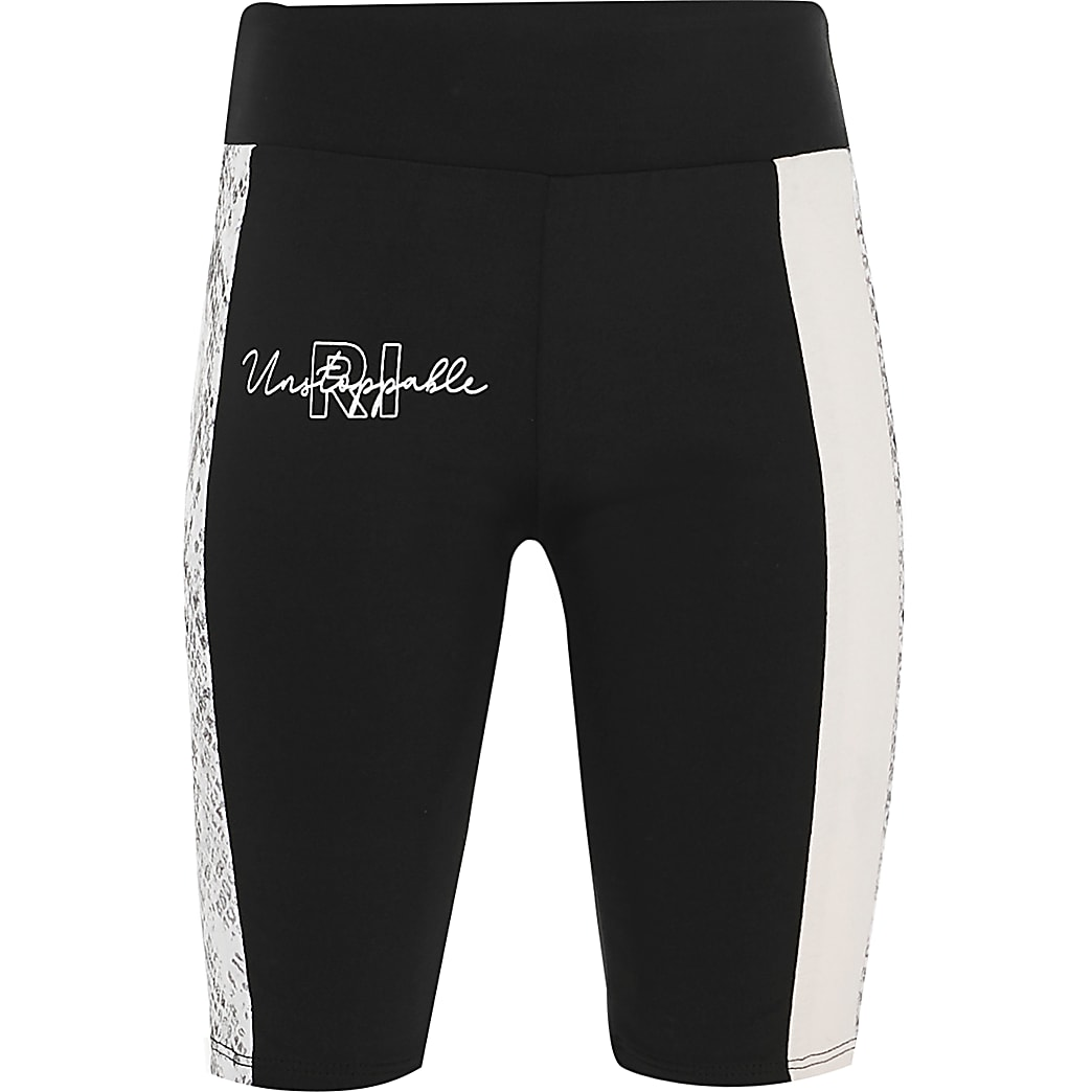 Girls black colour block RI Active shorts