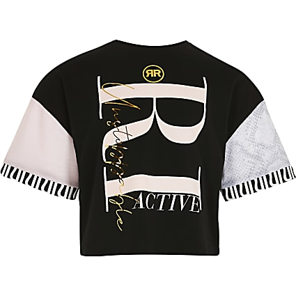 Girls black colour block RI Active t-shirt