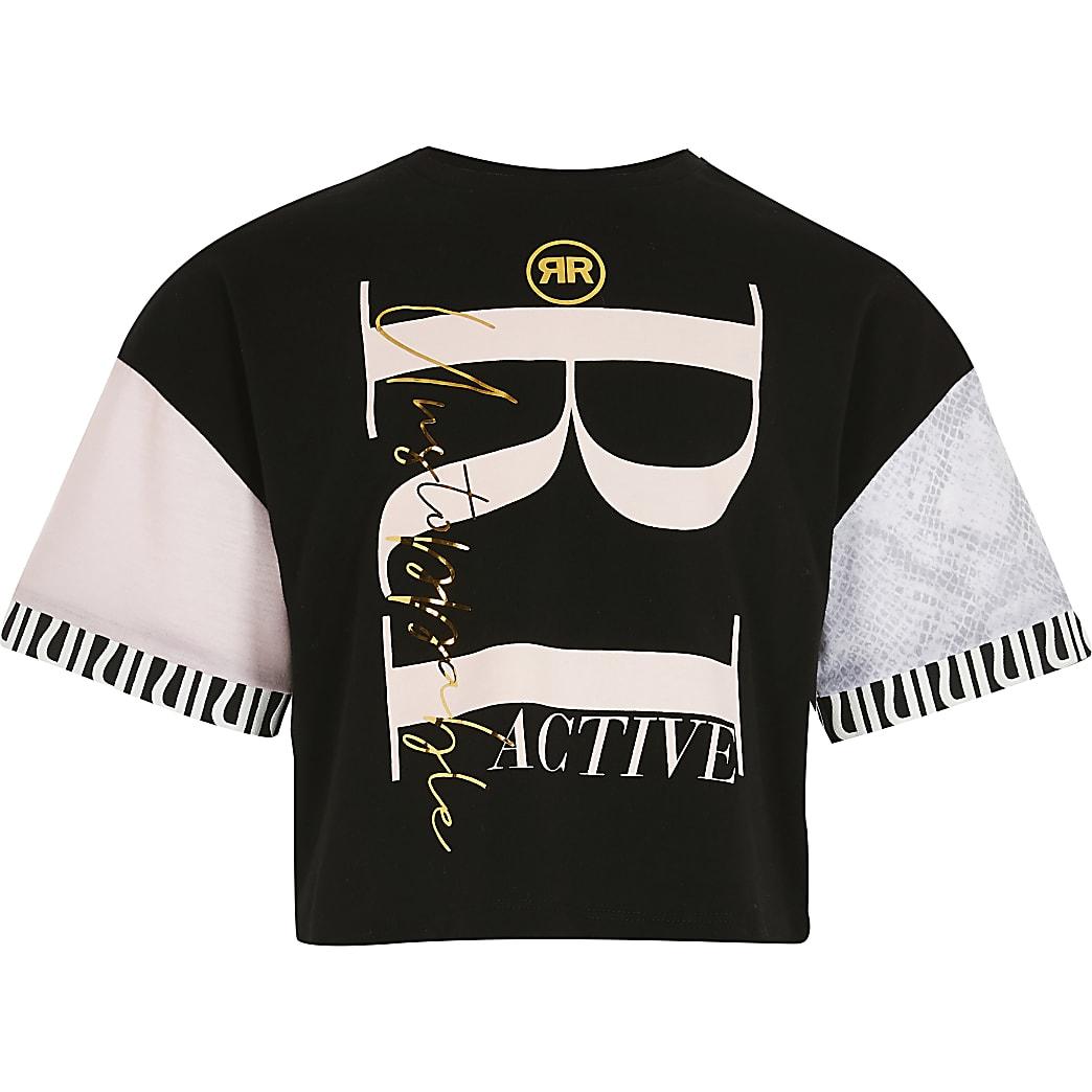 Girls black colour block RI Active t-shirt