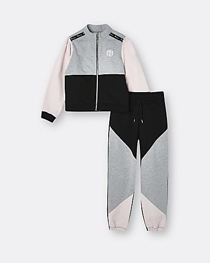 Girls black colour block tracksuit outfit