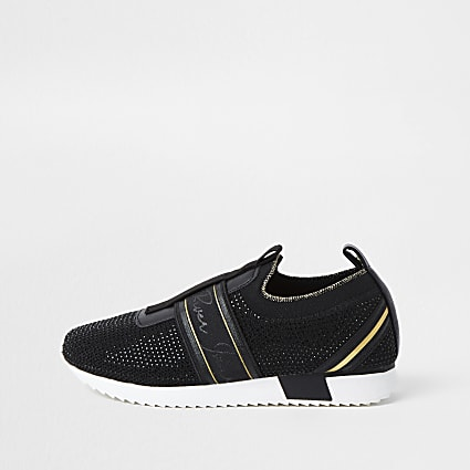 Girls black cone runner trainer