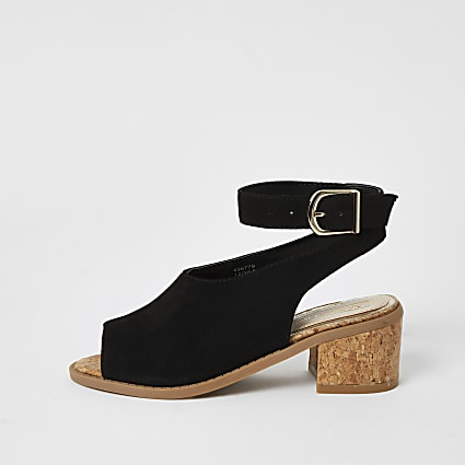 Girls black cork heel sandal
