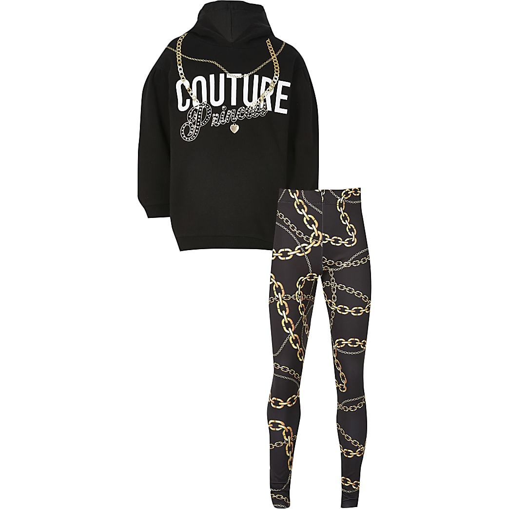 Girls black 'Couture' chain print outfit