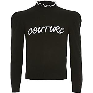 Pull noir en maille« Couture » pour fille