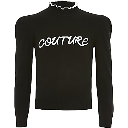 Girls black 'Couture' knitted jumper