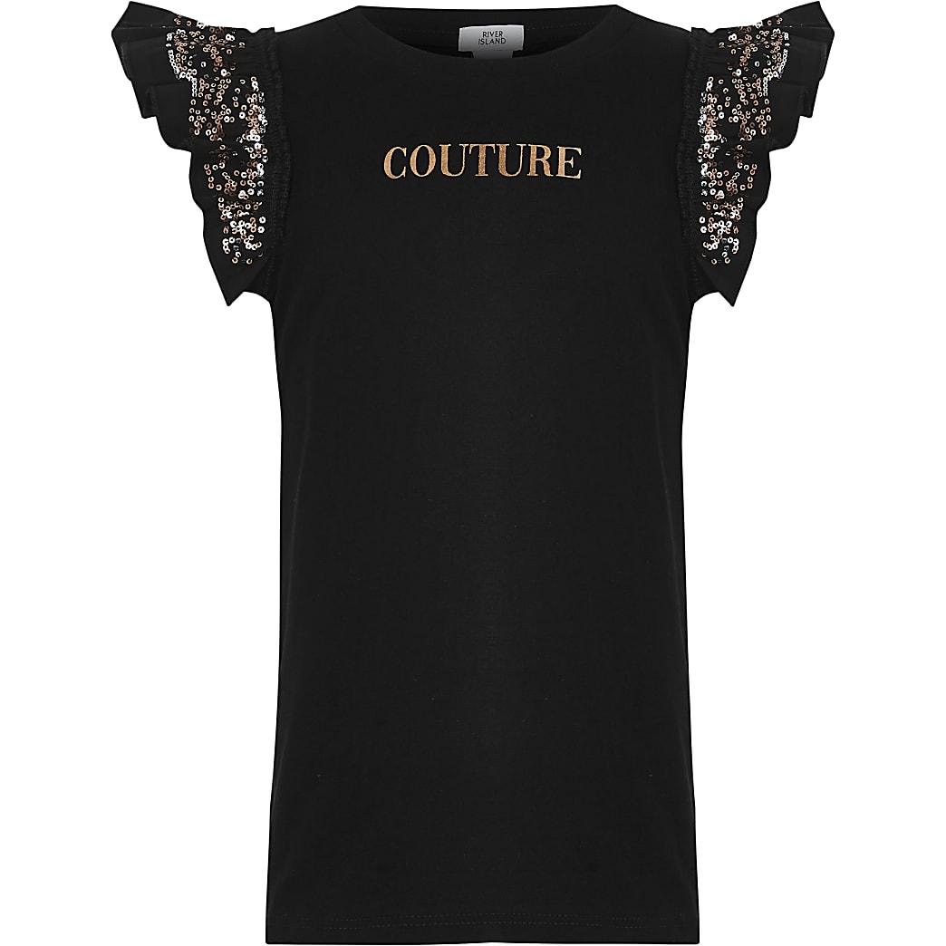 Girls black 'Couture' print T-shirt