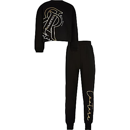 Girls black 'Couture' print tracksuit