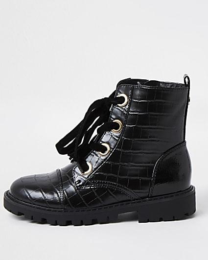 Girls black croc faux leather boots