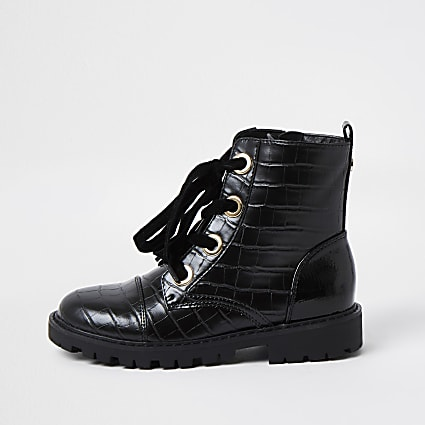 Girls black croc faux leather croc boots