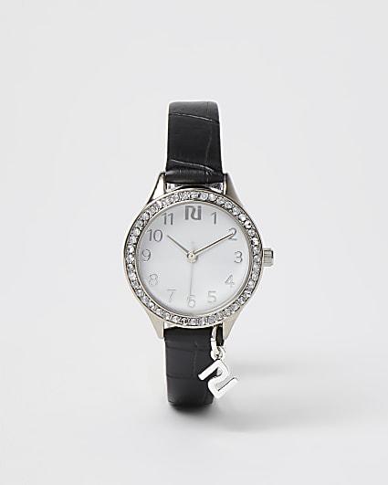 Girls black croc faux leather watch