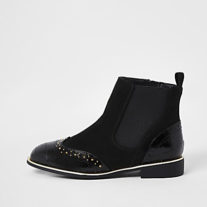 Girls black croc stud flat boots