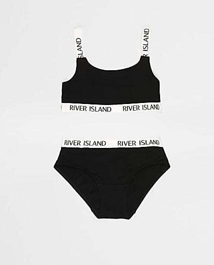 Girls black crop top and briefs set