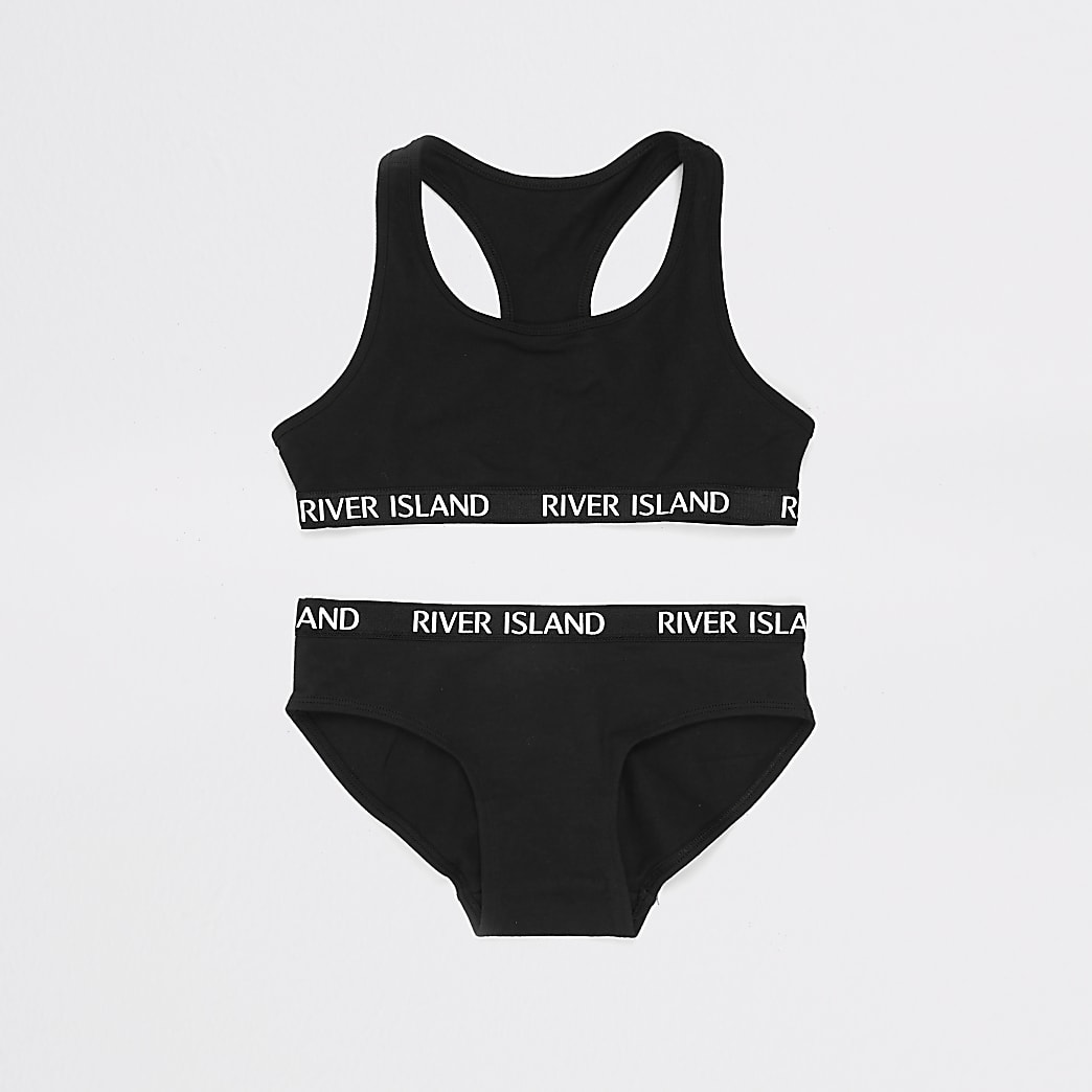 Girls black crop top and briefs