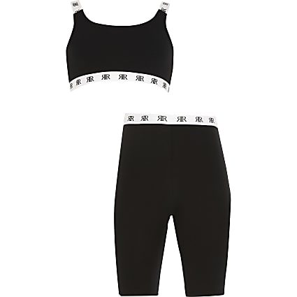 Girls black crop top and cycling shorts set