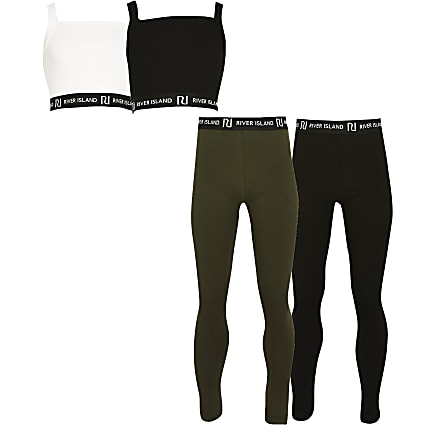 Girls black crop top and legging Set 4 pack