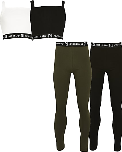Girls black crop top and legging Set 4 pack