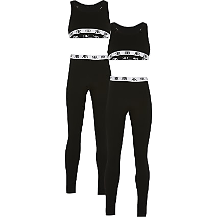 Girls black crop top loungewear set 2 pack