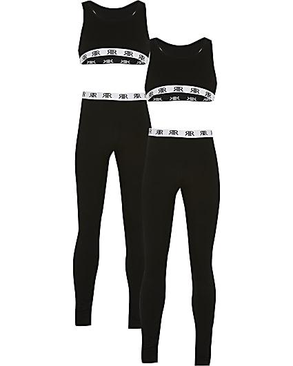 Girls black crop top loungewear set 2 pack
