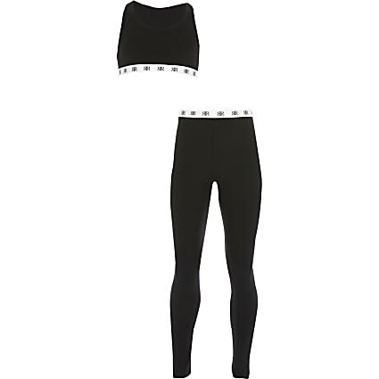 Girls black crop top loungewear set