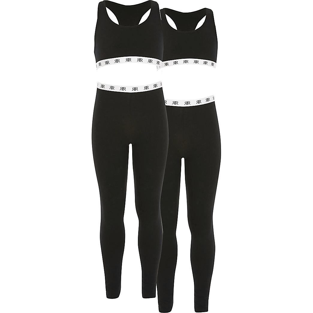 Girls black cropped loungewear set 2 pack