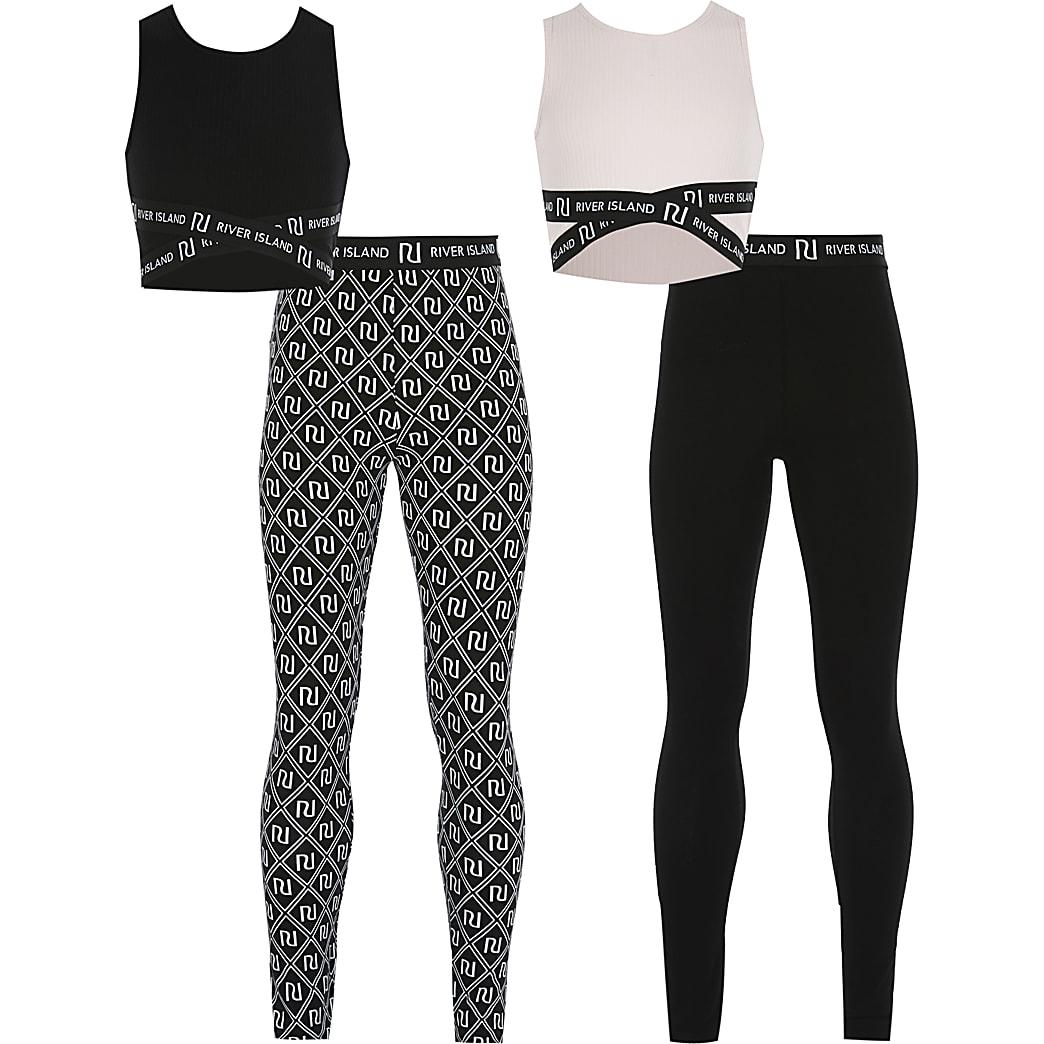 Girls black cross crop top outfit 2 pack