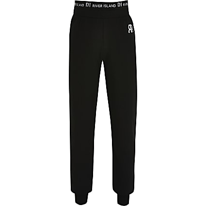 Girls black cuffed hem joggers