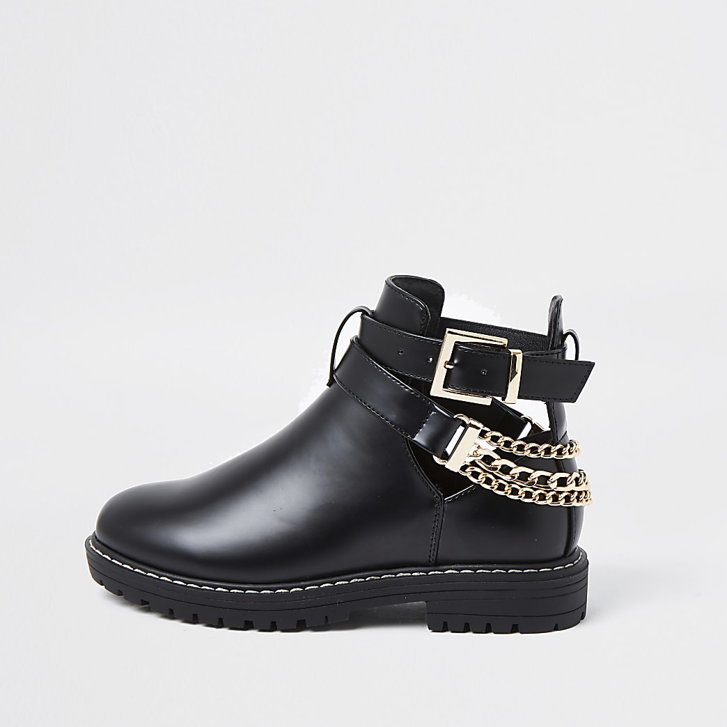 Girls black cutout chain clumpy boots