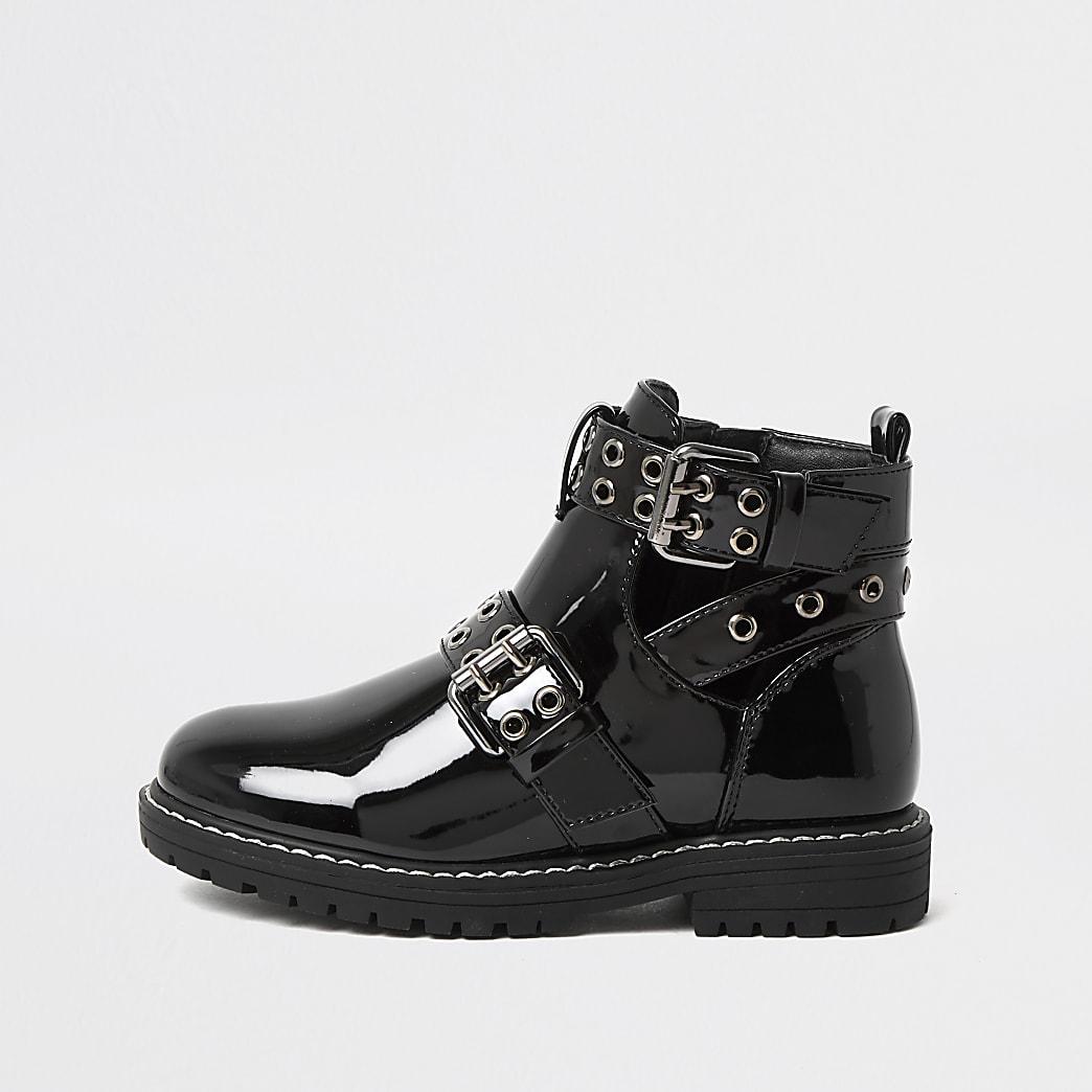 Girls black cutout patent clumpy boots