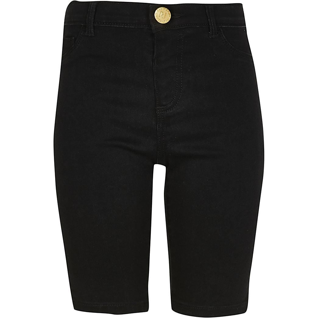 Girls black denim cycling shorts