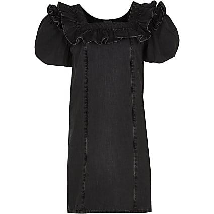 Girls black denim puff sleeve dress