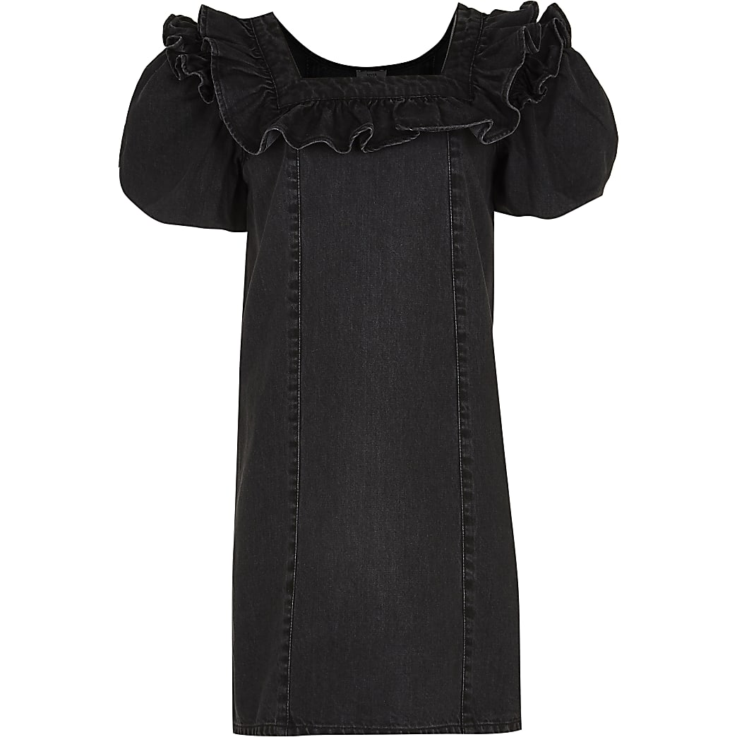 Girls black denim puff sleeve dress
