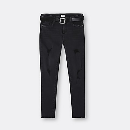 Girls black diamante belted skinny jeans