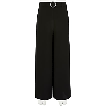 Girls black diamante buckle wide leg trousers