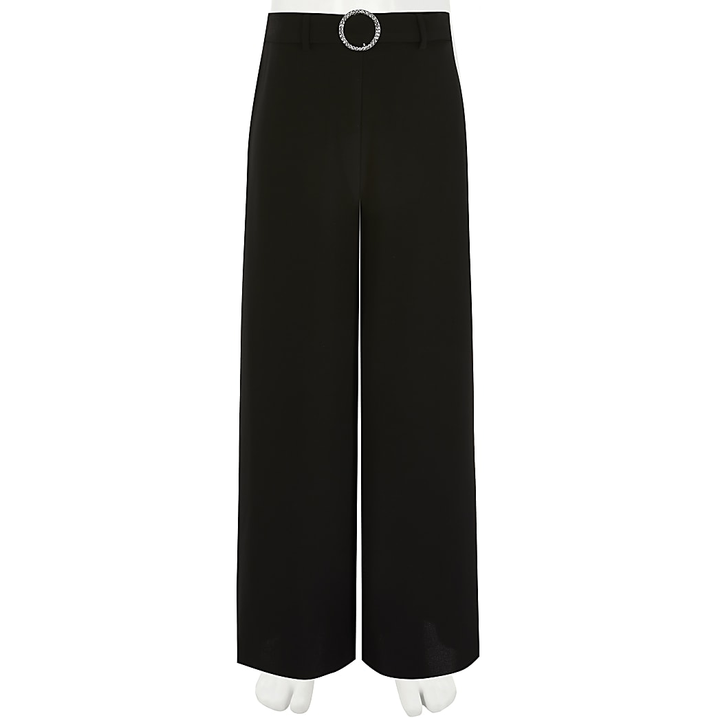 Girls black diamante buckle wide leg trousers