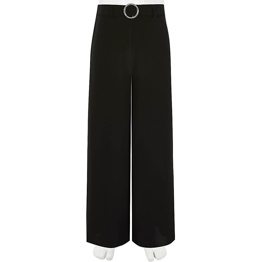 Zwarte broek met wijde pijpen en gesp met siersteentjes voor meisjes