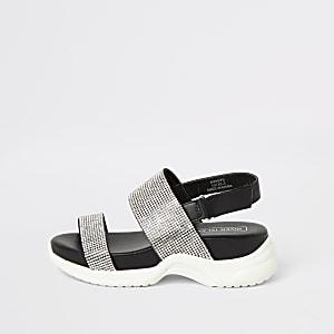 Zwarte sandalen met stevige zool en siersteentjes voor meisjes